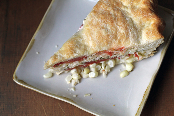 Tomato Corn Pie slice
